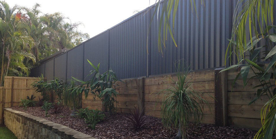 Colorbond Fence on Timber Retaining Wall